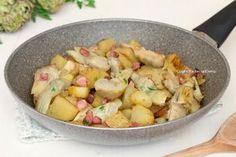 carciofi patate e pancetta in padella