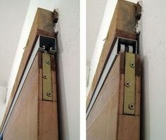Reform reform: How sliding doors work . Sliding Door Design, Sliding Door Hardware, Diy Barn Door, Diy Door, Barn Doors, Pocket Door Installation, Porta Diy, Barn Door Designs, Folding Doors