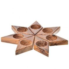 candélabre en bois d'olivier, étoile | vente en ligne sur HOLYART