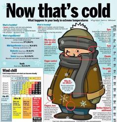 Infographic: Extreme temperatures. Frostbite, frostnip, hypothermia, windchill,