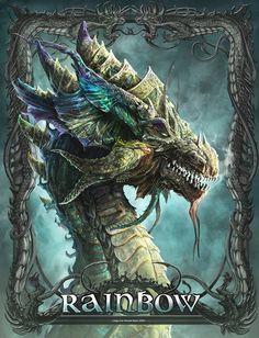 Dragon Kerem Beyit Fan Art - Rainbow by ertacaltinoz Dragon Illustration, Digital Illustration, Magical Creatures, Fantasy Creatures, Dragon Vert, Dragon Oriental, Legendary Dragons, Dragon Tales, Cool Dragons