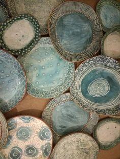 earthenware slab formed dinner set Dinner Sets, Earthenware, Mosaic, Pottery, Ceramics, Drawings, Tableware, Artwork, Artist
