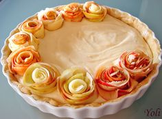 Apple Rose Cream Pie....Its listed as a Bulgarian site but there is a translate button at the top of the page.  A few things didn't translate well but more than enough to figure out how to make this beautiful pie.