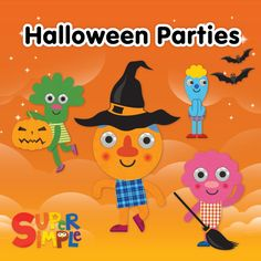 Ideas for planning Halloween party for kids. Great for toddlers, prek, and kindergarten. Via Super Simple Songs.