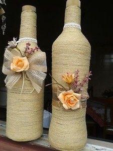 Kit de Garrafas Decoradas  rosa laranja
