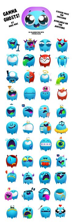 Gamma Ghosts! Sticker pack for iMessage on Behance