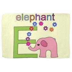Elephant Letter E Kitchen Towel #Alphabet #Elephant #Kids #Towel