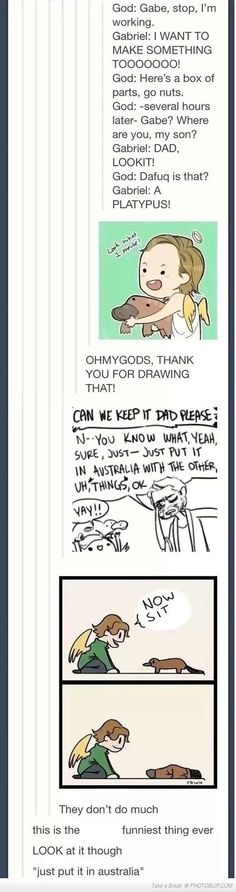 What came first, the platypus or the egg? hahaha, I just love this drawing^.^