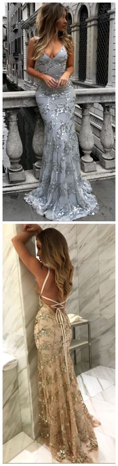 Sexy V-Neck Mermaid Prom Dresses  Sequineds Backless Evening Gowns