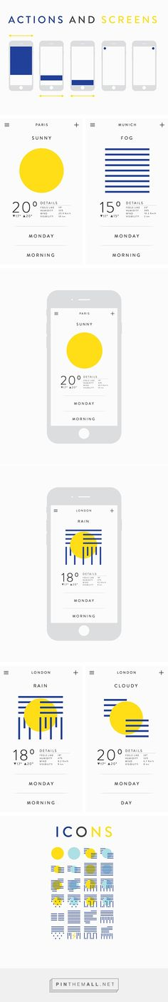 Weather app on Behance - created via http://pinthemall.net