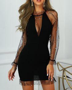 Women's Fashion Bodycon Kleider Online Shopping – Chic Me Trend Fashion, Fashion Outfits, Womens Fashion, Party Fashion, Runway Fashion, Fashion Shoes, Sheer Dress, Bodycon Dress, Mesh Dress