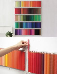 Stunning shelves filled with strategically placed colour pencils.