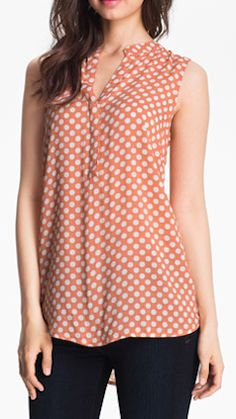 sleeveless dot print blouse  http://rstyle.me/n/jpwhdpdpe