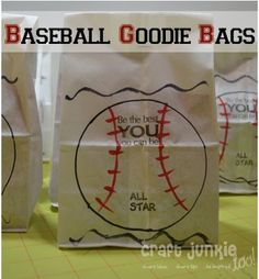 T-Ball Goodie Bags - These adorable bags are the perfect packaging for team treats, end of season party or a baseball themed birthday party. @Lindsey Grande Seitzinger I know you can find your own pins, but this had your name on it. :)