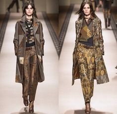 Etro 2015-2016 Fall Autumn Winter Womens Runway Catwalk Looks - Milano Moda Donna Collezione Milan Fashion Week Italy Camera Nazionale della Moda Italiana - Ornamental Print Decorative Art Tribal Ethnic Tapestry Patchwork Geometric Outerwear Trench Coat Jacket Wool Furry Wide Leg Trousers Palazzo Pants Paisley Knit Sweater Maxi Dress Gown Houndstooth Check Shorts Stockings Accordion Pleats Blouse Pantsuit