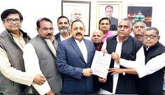 Union Minister Dr Jitendra Singh receiving a representation from a delegation of BJP leaders from Uttar Pradesh led by Member of Parliament Lok Sabha Devendra Singh alias Bhole Singh.