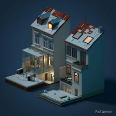 My parents house Blender 3d, Blender Models, Isometric Art, Isometric Design, Habbo Hotel, 3d Design, House Design, Cube World, 3d Artwork