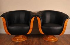 Pair Art Deco Blonde Walnut Club Chairs Sofa Armchairs | eBay