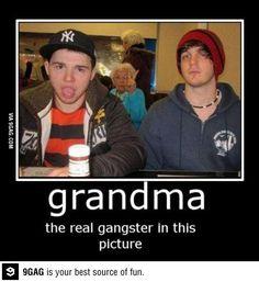 Photo bombing grandma style. Hilarious!