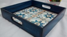 Ottoman Tray – All Home Patio Metal Patio Furniture, Ottoman Tray, Painted Trays, Blue Pottery, Decoupage Vintage, Mosaic Crafts, Wood Tray, Diy Recycle, Tray Decor