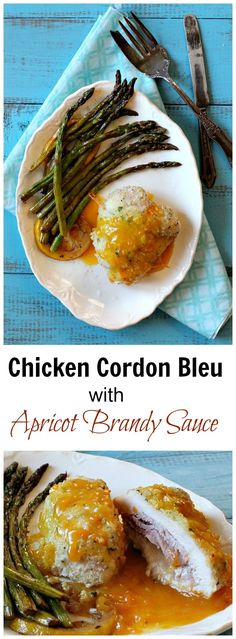 Elegant enough for Royalty. Easy enough for entertaining. This classic baked Chicken Cordon Bleu takes on a whole new personality with delicious Apricot Brandy Sauce. This is my new go to chicken dish for impressive entertaining.