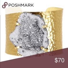 💐NEW💐 SILVER METALLIC GOLD HAMMERED DRUZY CUFF Absolutely a statement piece, a beautiful piece of all natural silver metallic Druzy centered in this wide hammered gold cuff bracelet! A prized piece! Metals are nickel and lead free and cuff has some bend to it so you can fit it to your wrist! Brown or purple agate stones available per request. This listing is for silver Druzy only. NWT T&J Designs Jewelry Bracelets
