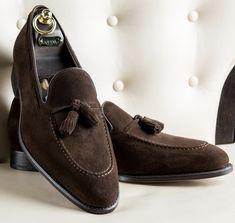 HOMMES fait main marron chocolat Formel Mocassins Enfiler Véritable Qualité Chaussures en cuir