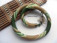 """Bead Crochet Necklace """"Provence herbs"""" made to order"""