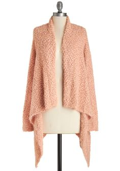 On The Plush Side Cardigan. Whether youre spending a cozy day indoors or strolling through the city, youll be in good company sporting this peach-hued cardigan. #pink #modcloth