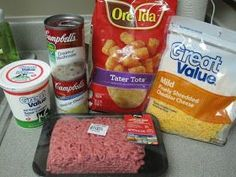 Prep* Ingredients Before Baked Cooked…Yummy! I got this recipe on Tasty … Prep* Ingredients Before Baked Cooked…Yummy! I got this recipe on Tasty Kitchen from Tater-Tot Casserole Ingre… Hamburger Tator Tot Casserole, Tator Tot Casserole Recipe, Tater Tot Recipes, Easy Casserole Recipes, Breakfast Casserole, Meat Recipes, Cooking Recipes, Duggar Tater Tot Casserole, Dinner Recipes