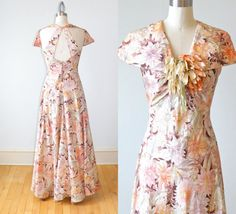 1930s Silk taffeta T-Back Floral Print Formal Party Dress with Flower Pom and Buttons, XS