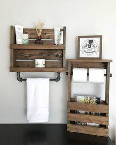 Trendy Bath Room Shelves Over Toilet Towel Holders Magazine Racks Ideas Bathroom Wood Shelves, Diy Wood Shelves, Diy Bathroom Vanity, Small Bathroom Storage, Bathroom Ideas, Bathroom Towels, Bedroom Storage, Bathroom Organization, Diy Bedroom