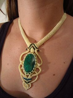 Chrysocolla Beige Necklace Macrame Handmade. $46.00, via Etsy.