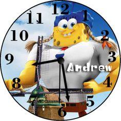 Spongebob-Movie-2-Inspired-Personalized-Clock-Wall-Clock Personalized Clocks, Clock Wall, Spongebob, Inspired, Movies, Inspiration, Ebay, Design, Picture Clock