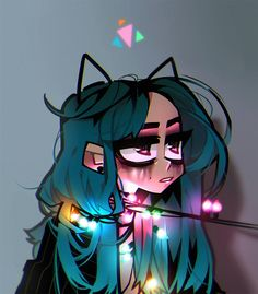 Fairy lights by zukich Cute Art Styles, Cartoon Art Styles, Kunst Inspo, Art Inspo, Aesthetic Art, Aesthetic Anime, Gothic Kunst, Arte Emo, Pastel Goth Art