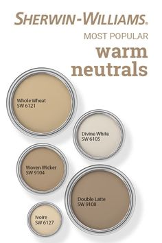 Feb 2020 - Have you ever wondered which Sherwin-Williams warm neutral paint colors are the most popular? These beautiful hues all make the list. Tap this pin to find the right color for your next DIY painting project. Warm Paint Colors, Paint Colors For Living Room, Paint Colors For Home, House Colors, Neutral Living Room Colors, Neutral Wall Paint, Beige Wall Colors, Most Popular Paint Colors, Office Paint Colors
