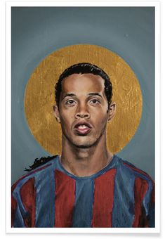 Football Icon - Ronaldinho 2006 als Premium Poster door David Diehl | JUNIQE