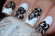 Black and white damask nail art - the mistake