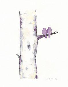 Lavendar Birch Tree Love No. 3 / Love Birds / di kellybermudez