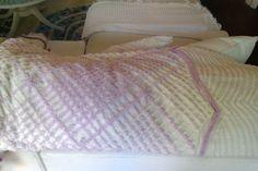 vintage chenille bedspread white lavender by VintageChicFurniture, $145.00
