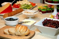 food - cheese and baguettes/crackers    apples and dip it - pb