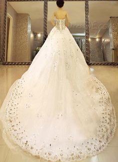 $535.29 Dresswe.comサプライ品華やかな夜会服の床長さの恋人のレースアップ聖堂のビーズのウェディングドレス