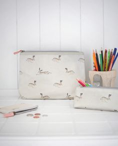 Oilcloth Accessory Case - 'Hare' from Sophie Allport Large Pencil Case, Big Bags, Small Handbags, Wash Bags, You Bag, School Bags, Zip Around Wallet, Great Gifts, Coin Purse