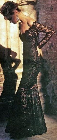 Lace evening dress