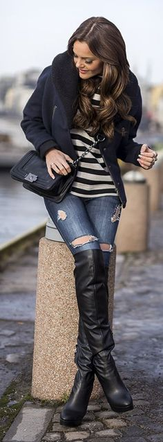 Stripes And Denim Winter Outfit