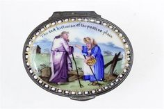 A rare mid-18th˜Century English Staffordshire enamel patch box The sad Historian of the passive