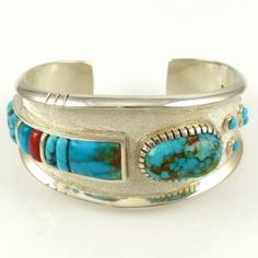 Candelaria Turquoise and Coral Cuff by Michael Perry - Garland's Indian Jewelry