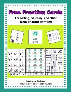 Free Fractions Cards for sorting, matching, and other hands-on activities + 3rd grade, 4th grade, and 5th grade math partner games for Common Core