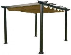 Pergola with a shade. Beau thinks he can build this. I can do the shade - white and navy stripe fabric!