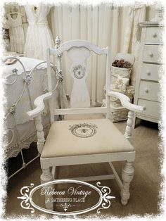 Vintage White Chair with French Bee Graphics!   Rebecca Vintage A Gathering Place